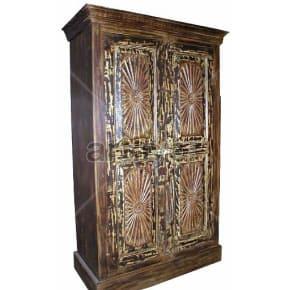 Vintage Indian Sculpted Supreme Solid Wooden Teak Almirah