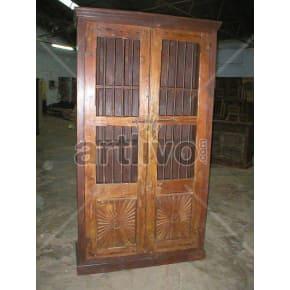 Vintage Indian Sculptured imperial Solid Wooden Teak Almirah
