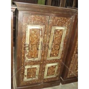 Vintage Indian Sculptured stately Solid Wooden Teak Almirah