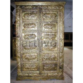 Restored Carved Extravagant Solid Wooden Teak Almirah with heavy brass work