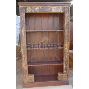 Vintage Indian Carved Plush Solid Wooden Teak Bookshelf