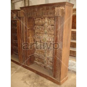 Vintage Indian Carved Royal Solid Wooden Teak Bookshelf