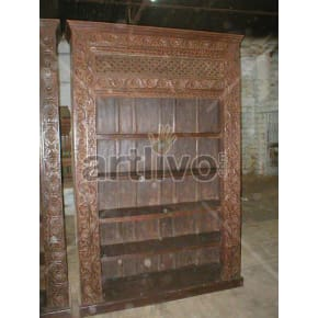 Vintage Indian Chiselled Royal Solid Wooden Teak Bookshelf