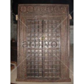 Vintage Indian Brown Plush Solid Wooden Teak Door