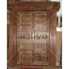 Vintage Indian Brown Superb Solid Wooden Teak Door