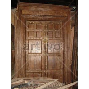 Vintage Indian Chiselled Supreme Solid Wooden Teak Door