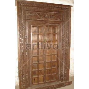 Vintage Indian Engraved Opulent Solid Wooden Teak Door