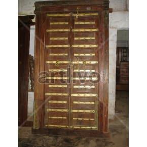 Vintage Indian Engraved Lavish Solid Wooden Teak Door