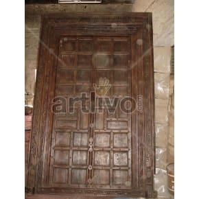 Vintage Indian Engraved Plush Solid Wooden Teak Door