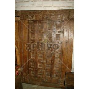 Vintage Indian Engraved Superb Solid Wooden Teak Door