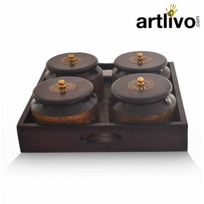 4 Bowl Set With Wooden Tray
