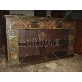 Vintage Indian Carved noble Solid Wooden Teak Sideboard with open side