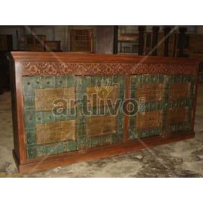 Vintage Indian Carved stately Solid Wooden Teak Sideboard with 4 door