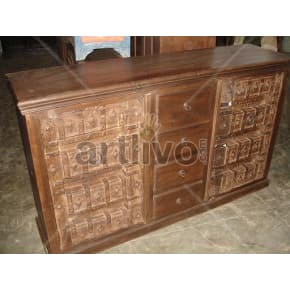 Vintage Indian Carved Supreme Solid Wooden Teak Sideboard with 4 drawer in middle and 2 door