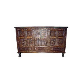 Vintage Indian Brown Ostentatious Solid Wooden Teak Sideboard with 12 Square block floral design