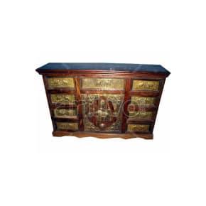 Vintage Indian Brown imperial Solid Wooden Teak Sideboard with bronze work on 9 drawer & 1 door