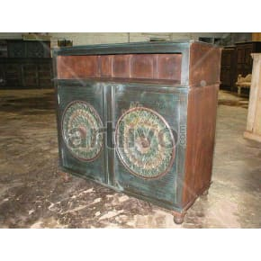 Vintage Indian Chiselled Unique Solid Wooden Teak Sideboard with 2 door circular design