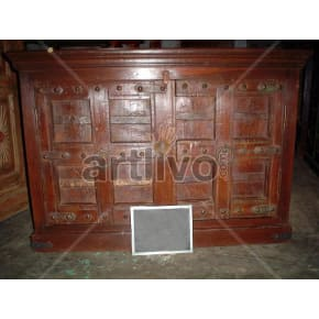 Vintage Indian Chiselled Palatial Solid Wooden Teak Sideboard with 8 square block