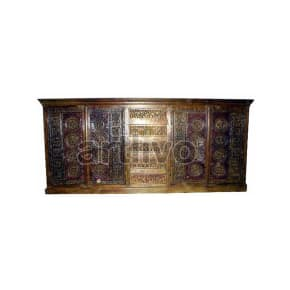 Vintage Indian Engraved Royal Solid Wooden Teak Sideboard with 4 drawer in middle and 4 door