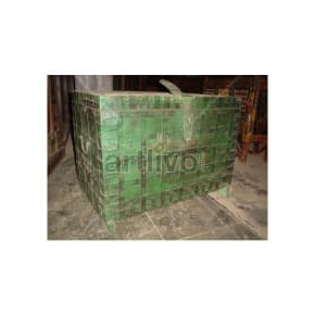 Vintage Indian Beautiful Royal Solid Wood green color with metal work Trunk
