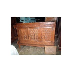 Old Indian Carved Luscious Solid Wood brown color Trunk