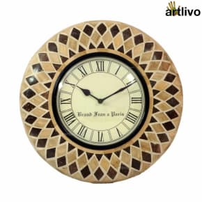 Bamboo Inlay Wall Clock Light