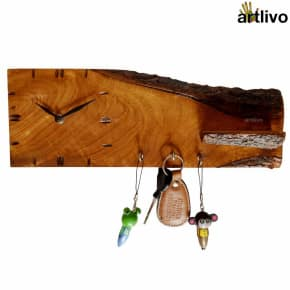 ECOLOG Raw Wooden Wall Clock with Key Hooks