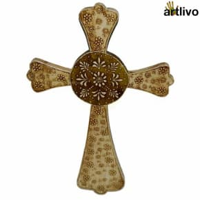EMBOSSED Ivory Golden Wall Hung Cross