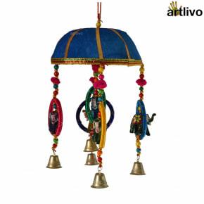 "POPART 6"" Basket with Elephant-Chudi-Bells Hanging - Blue"