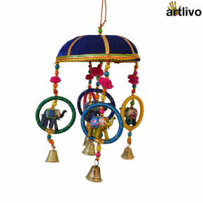 "POPART 6"" Basket with Elephant-Chudi-Bells Hanging - Dark Blue"