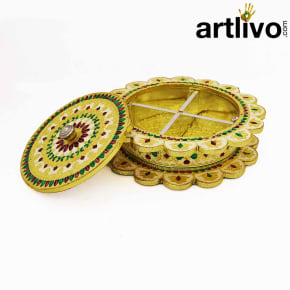 Wooden Dry Fruit Handicraft Box With Meena Work