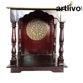 Artlivo Wooden Tappered Temple - Brown with Brass