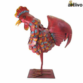 POPART Metal Carved Body Rooster showpiece