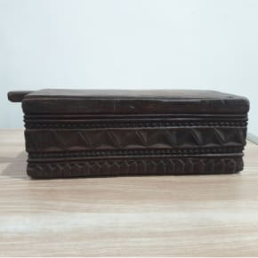 Carved 3 Compartment Spice Box