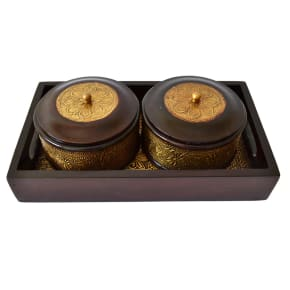 2 Bowl Set With Wooden Tray