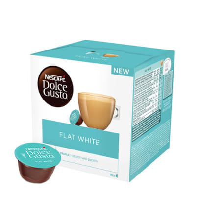 Nescafé Flat White package and capsule for Dolce Gusto