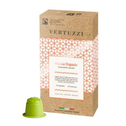 Vertuzzi Aquila Organic package and capsule for Nespresso®