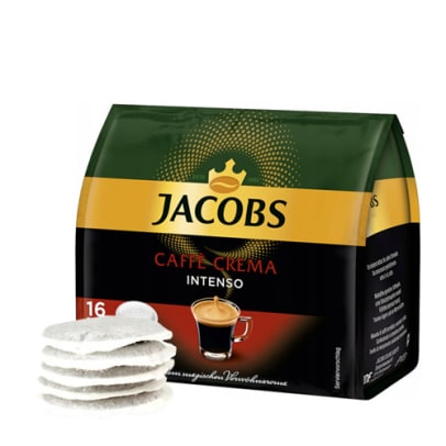 Jacobs Caffè Crema Intenso package and pods for Senseo
