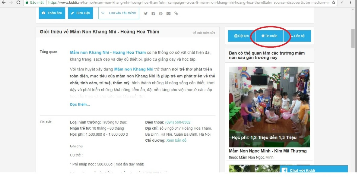 """Hướng dẫn gửi """"Tin nhắn"""" cho các Trường Mầm non trên Kiddi.vn"""