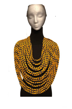 Large multi-rang African necklace, Large african necklace print, Ankara