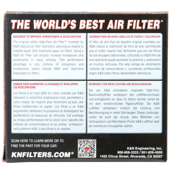 K/&N Filters RC-1150 Universal Round Straight Air Filter
