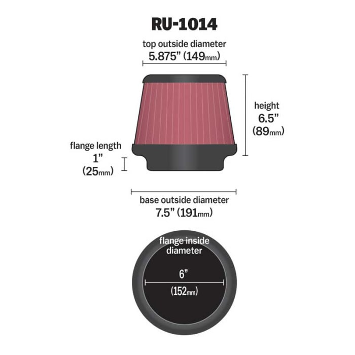 K/&N Filters RU-1014 Universal Clamp On Air Filter