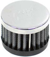 "1"" Push-On Rubber Base Crankcase Vent Filter with Chrome Top"