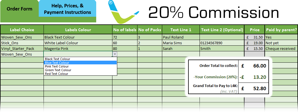 Image showing excel for Bulk Fundraising Scheme