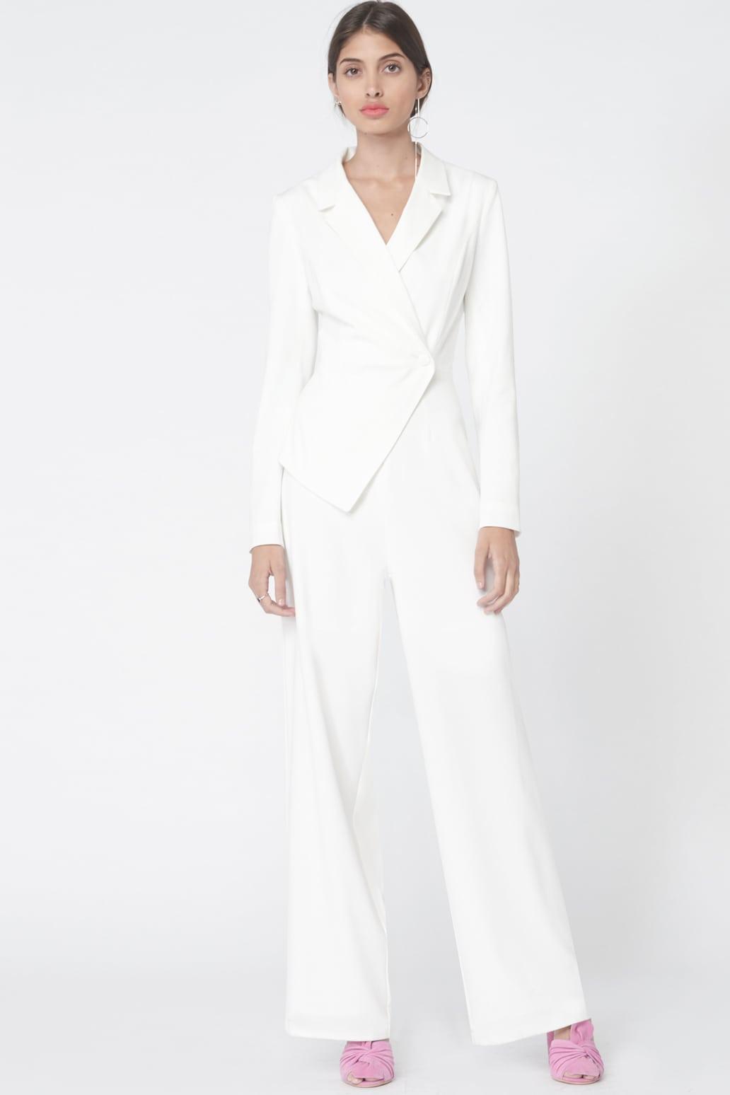 Asymmetric Tuxedo Style Jumpsuit in Off White