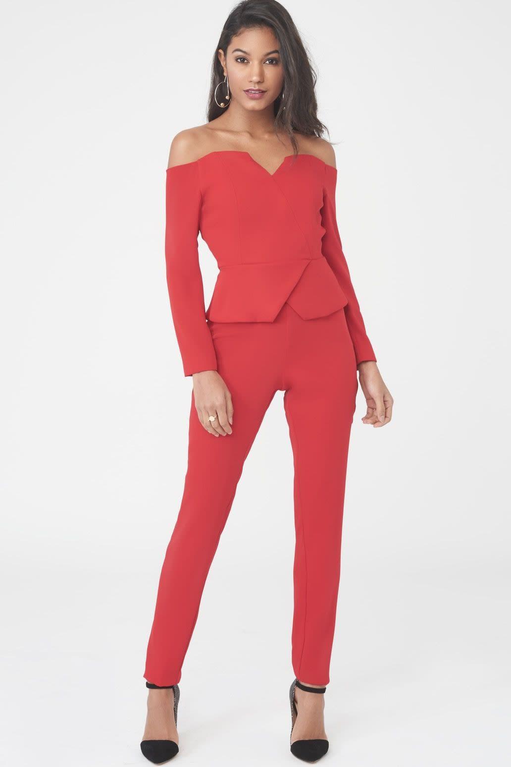 Off The Shoulder Blazer Jumpsuit in Red