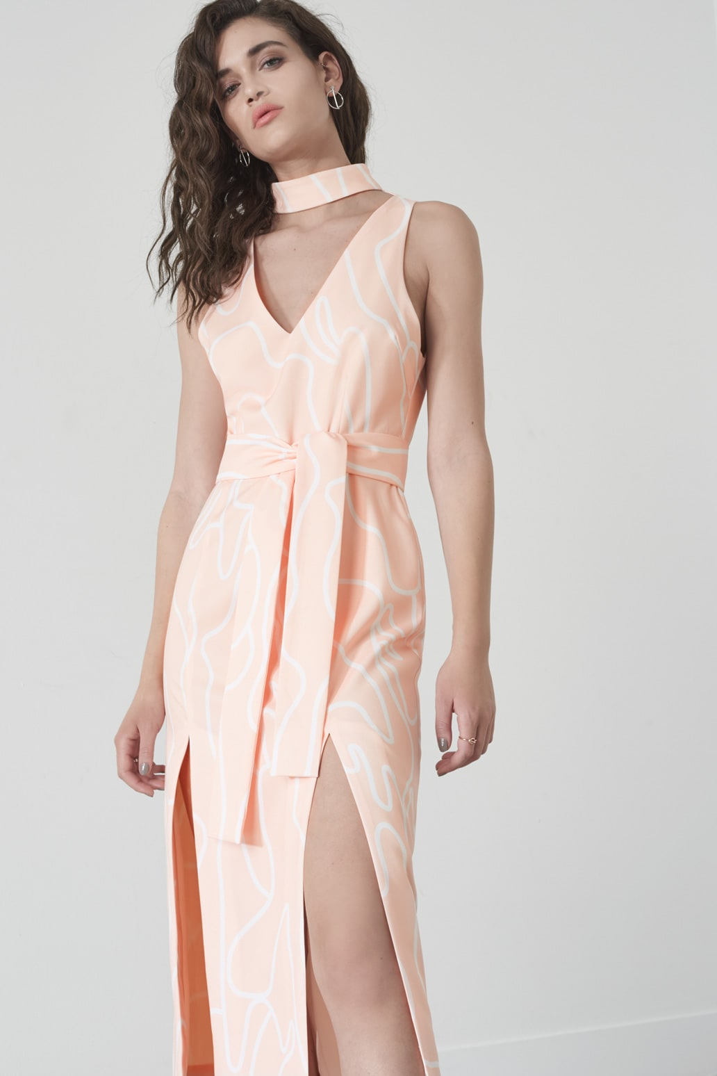 Squiggle Print Double Split Dress in Nude & White