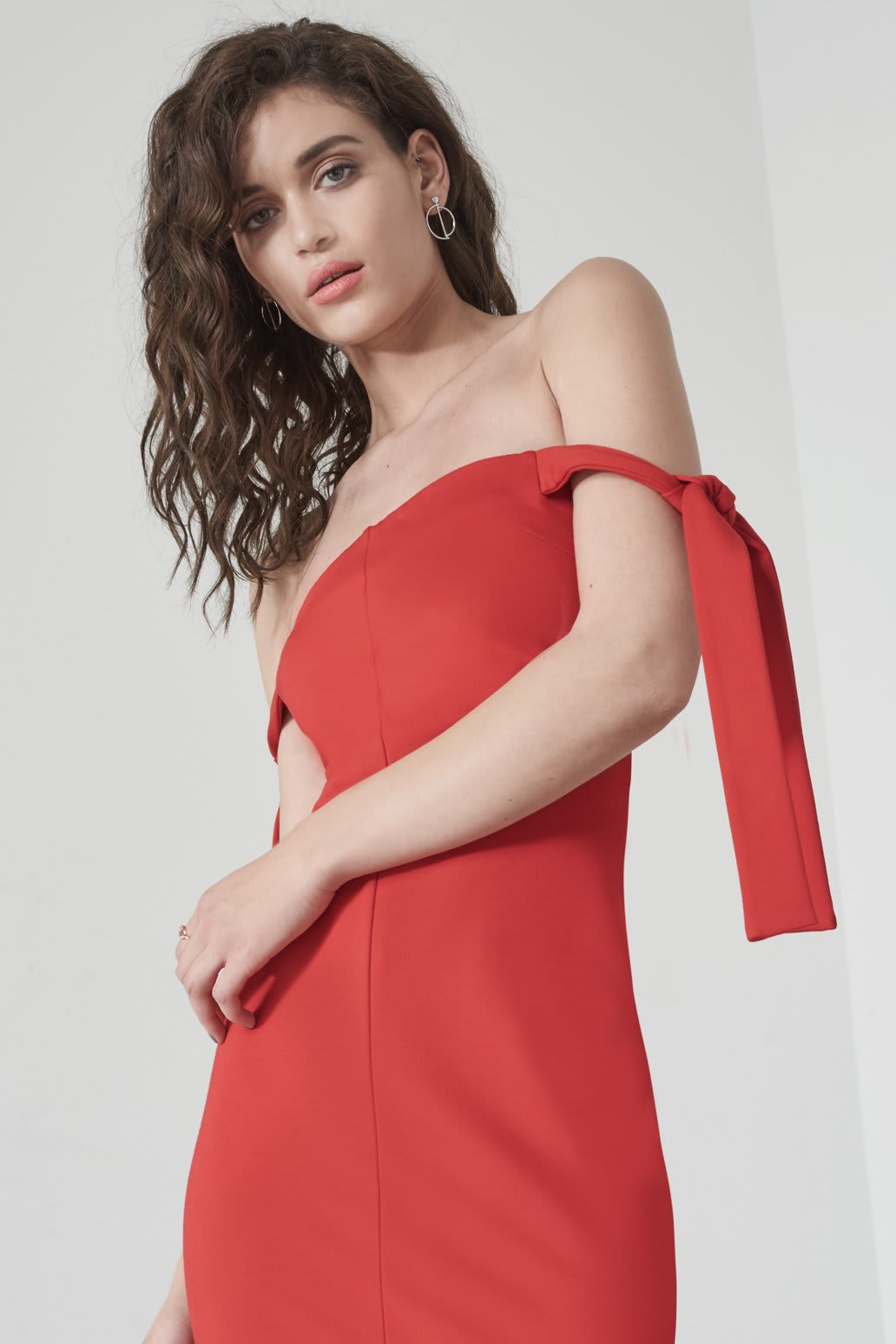 Tie Sleeve Dress in Red