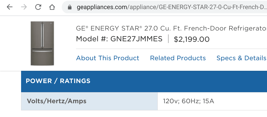 GE website that shows power with volts, hertz, and amps
