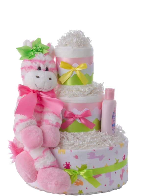 Pink Zebra Girls Diaper Cake